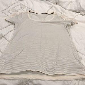 GUC Lululemon S/S sz 12 cream/grey striped top